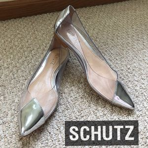 NEW - Schutz- Silver Clearly Flats - 7B